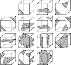 "purestform: "" The 14 Fundamental Cases for Marching Cubes Generating Complex Procedural Terrains Using the GPU Ryan Geiss Nvidia Corp. Image Infographics, Shape Collage, Science Images, Art Optical, Parametric Design, Cad Drawing, Geometric Shapes, Geometric Drawing, Sacred Geometry"
