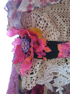 Pink Vintage Flower Belt, Headband, Floral, Hot Pink, Black, Purple,Beaded Silk Cabochon, Boho