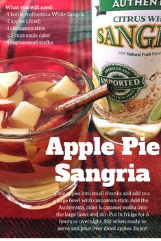 All the delicious flavors of fall combined into one boozy drink. Apple Pie Sangria, Halloween Themed Food, White Sangria, Sangria Recipes, Cinnamon Sticks, Apple Cider, Caramel, Cocktails, Drink