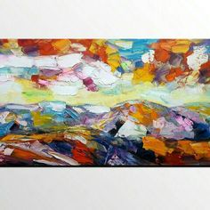 heavy texture mountain landscape painting