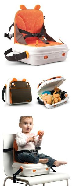 Pop Up Booster Seat - convenient carrying case with storage - this would be awesome to take to restaurants