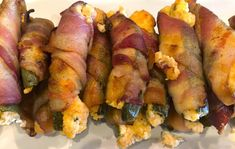 These jalapenos are wrapped in bacon and stuffed with a cream cheese blend that takes these jalapenos to the next level. Pepper Recipes, Bacon Recipes, Sausage, Oven, Stuffed Peppers, Cheese, Meals, Dishes, Cream