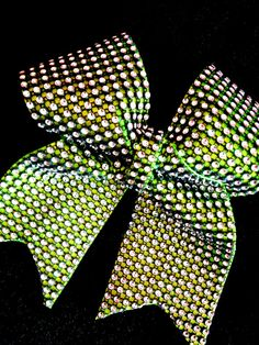 Rhinestone Cheer Bow in Lime Green & Black Bling for by Bowfriendz, $12.99