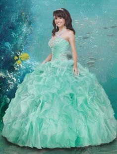 2016 Elegant Green Quinceanera Dresses Sweetheart Beads Lace Up Organza Floor…