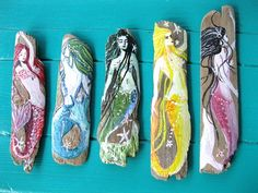 I love painting on driftwood, and love this idea of painting mermaids on it. Hand Painted  Blonde Mermaid Ornament Beach by oceangirlcollection, $12.00