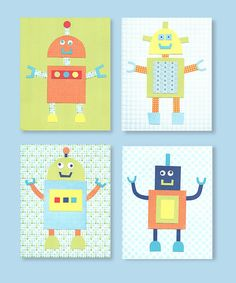 Robot Nursery Art, Blue, Green, Orange, Navy, Yellow, Boy's Room, 8 x 10 or 11 x 14 set of four prints on Etsy, $45.00
