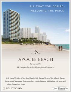 New and Pre-Construction | Apogee Beach, Private and Exclusive Beachfront Residences Located in Hollywood, Florida