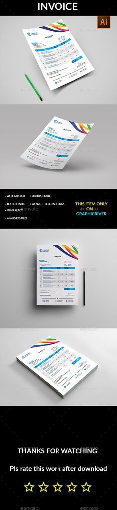 Invoice - #Proposals & #Invoices #Stationery Download here: https://graphicriver.net/item/invoice/18980668?ref=alena994