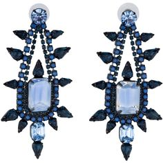 Pre-owned Elizabeth Cole Crystal Pear Earrings ($125) ❤ liked on Polyvore featuring jewelry, earrings, swarovski crystal earrings, light blue earrings, blue earrings, preowned jewelry and round earrings