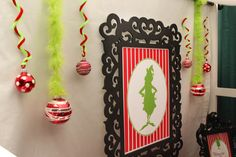 Use pipe cleaners and grinch-y yarn to hang ornaments from the ceiling! Grinch-themed First Birthday Party {Vendor Collaboration} Grinch Christmas Party, Grinch Who Stole Christmas, Christmas Birthday Party, Winter Christmas, Birthday Ideas, Grinch Party, O Grinch, Grinch Stuff, Grinch Christmas Decorations