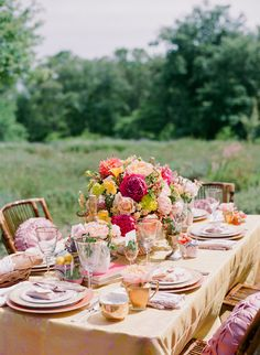 peach pink reception tables