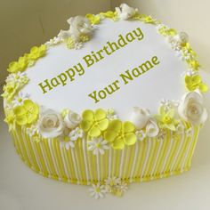 Yellow Heart Candy Stripes Birthday Cake With Name.Write Name on Candy Birthday Cake.Print Custom Text on Yellow Heart Cake For Whatsapp Profile Pics.MyNamePix