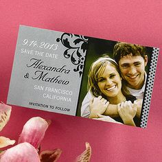 Celebrate your big announcement by sending out this grey and black save the date magnet featuring a flourish design and the photo of your choice.