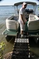 Roll-A-Ramp is a great solution for access from your pontoon to the shore! www.rollaramp.com
