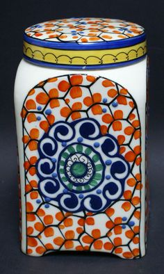 "Vintage Hand Painted Slip Decoration Art Pottery Czech Canister ""Czechoslovakia"" 