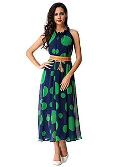 b0e63419e03 MISSEUROUS Womens Polka Dots Bohemia Skirt Long Maxi Chiffon Dress With  Belt L Blue     Details can be found by clicking on the image.