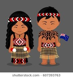 Maori. New Zealanders in national dress with a flag. Man and woman in traditional costume. Travel to New Zealand. People. Vector flat illustration.