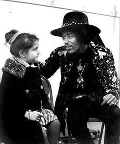 Jimi Hendrix and his stepsister Janie backstage, Seattle.