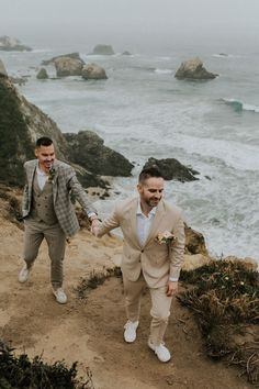 """These cuties hiked to their """"I do"""" location in neutral tone and charcoal grey plaid styled suits Image by Heather K Purdy Big Sur Beach, Wedding Blog, Wedding Styles, Beach Elopement, Plaid Fashion, Elopement Inspiration, Groom Style, Beautiful Beaches, Charcoal"""