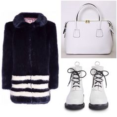 Make a chic Vegan statement this winter w/this Shrimps faux fur coat, Angela Roi faux leather tote, and Ilse Jacobsen wellies