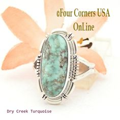 Four Corners USA Online - Size 7 1/2 Dry Creek Turquoise Sterling Ring Navajo Artisan Larry Moses Yazzie NAR-1691, $113.00 (http://stores.fourcornersusaonline.com/size-7-1-2-dry-creek-turquoise-sterling-ring-navajo-artisan-larry-moses-yazzie-nar-1691/)