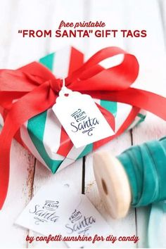 These free printable Santa gift tags are very simple, yet pretty. Dress up a gift with any kind of paper – these tags will coordinate! Diy Christmas Shadow Box, Christmas Holidays, Christmas Gifts, Hello Holidays, Christmas Wrapping, Christmas Projects, Christmas Decor, Merry Christmas, Free Printable Christmas Gift Tags