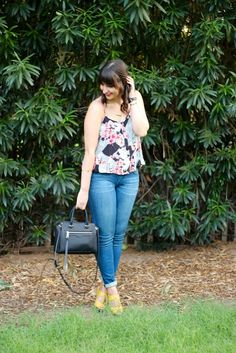 Floral Ruffled Camisole + Skinny Jeans + Yellow Wedges + @RebeccaMinkoff Handbag #outfit #fall