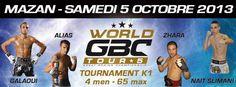 #WorldGBCTour 5 Tournament .K-1 .-65kg .3x3mn Eddy #NaitSlimani #MohamedGalaoui #DanielZhara #AlessandroAlias Octobre/October 2013 Mazan Vaucluse France Europe