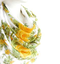 Cotton Scarf, Shawls And Wraps, Yellow Flowers, Flower Prints, Fashion Accessories, Womens Fashion, Floral, Green, Amazon