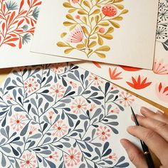 I added the leaves during a rainy downpour this morning. I'm listening to an audiobook, the nourishing rain, and I'm painting with joy! A lovely day without sunshine. #workinprogress #makingitupasigo #watercolor #pattern #flowers #floral #illustratorinminneapolis #pinkflowers #makeartthatsells