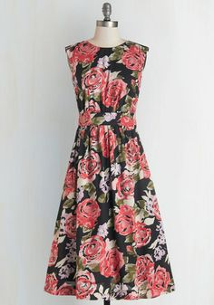 Too Much Fun Dress in Roses - Long. If overloading on fun were such a thing, we say go all out in this black floral dress, found exclusively at ModCloth! #multi #modcloth