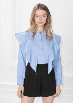 & Other Stories image 2 of Frilled Blouse in Blue