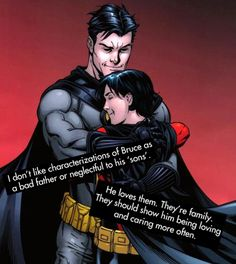 I so agree.  That's why I liked the YJ version of Batman- He actually cared about Dick (ex- the basketball game).