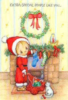 1980 Vintage Christmas Hallmark Greeting Card Betsy Clark