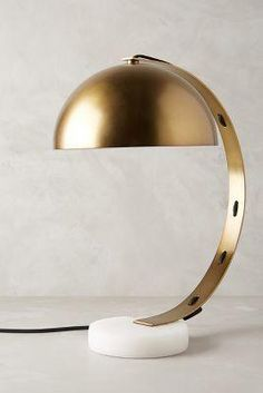 Marble Task Lamp by Anthropologie Gold One Size Lighting