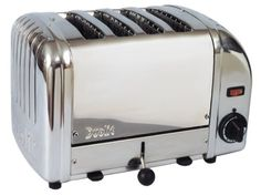 Cadco 4-Slot Toaster, 208-Volt Toasting slot dimensions: w: 1-inch by h: 5-inch by l:5-inch. Fits standard size bagels. All stainless housing. Pull-out crumb tray. 2-Year warranty on elements.  #Cadco #Kitchen