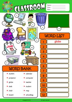 Classroom ESL Find and Write the Words Worksheet For Kids