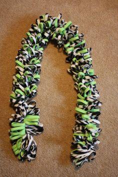Zebra print with lime green Loopy Fleece Boa Scarf. $6.00, via Etsy.