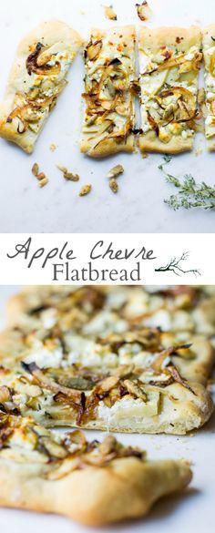 Easy flatbread recipe made with sliced apples, chevre, spiced pumpkin seeds, thyme, and caramelized onions. Recipe via MonPetitFour.com