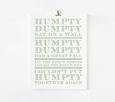 Humpty Dumpty Nursery Rhyme // kids wall by TheStationerySisters, $18.00
