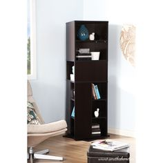 South Shore Chocolate Reveal Revolving Bookcase