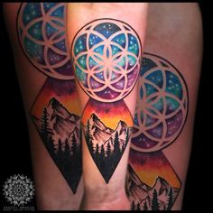 Flower of Life and Mountains by rebelsketchtattoo