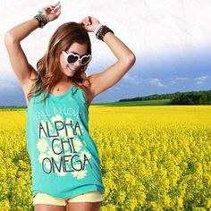 One of our favorite pieces from this past fall! #AmericanApparel Power Washed Tank for #AlphaChiOmega ️ #AChiO