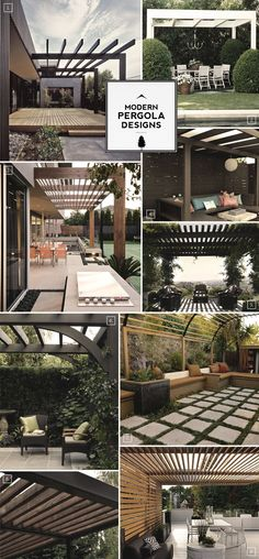 Here are some design notes when it comes to modern pergola designs. The most common pergola design is to have decorative and somewhat rounded ends on the beam. The easiest way of creating a more modern pergola is to do away with the decorative ends. Outdoor Rooms, Outdoor Gardens, Outdoor Living, Outdoor Decor, Outdoor Sheds, Outdoor Patios, Outdoor Kitchens, Pergola Plans, Pergola Kits