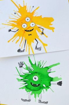 Friendly Monster Watercolour Blow Art with Straws - If you like process art and. - Friendly Monster Watercolour Blow Art with Straws – If you like process art and trying new paint - Kids Crafts, Projects For Kids, Diy For Kids, Arts And Crafts, Craft Kids, Straw Art For Kids, Children Art Projects, Easy Kids Art Projects, Summer Crafts
