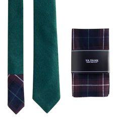 Bench Green Neck Tie & Plaid Pocket Square Set By W.B.THAMM | Accessories - AHAlife.com
