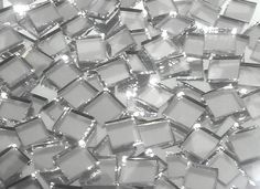 Disco Ball Silver Mirror Hand Cut Glass Mosaic Tiles (See note on thickness) - Mosaic Tile Mania Mirror Tiles, Glass Mosaic Tiles, Mosaic Art, Mirror Mosaic, Mirror Trim, Cut Glass, Glass Art, Mirror Glass, Mirror 3