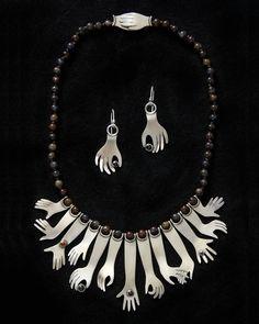 Necklace | Ahlene Welsh. 'Hands Down, 2008'.  Sterling silver, iolite, garnet, tourmaline, citrine, stone beads