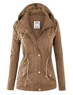 Womens Lightweight Cotton Military Anorak Jacket with Hoodie ...