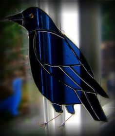 Crow Raven Stained Glass Suncatcher